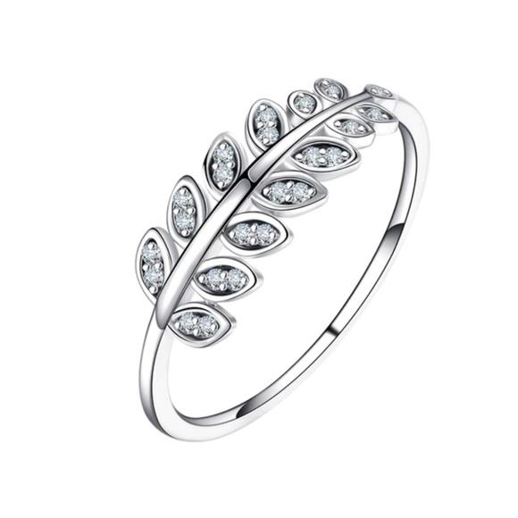 40d46ce56 AmberRenée & Co Jewelry | Sterling Silver Leaf Ring 925 Bijoux ...